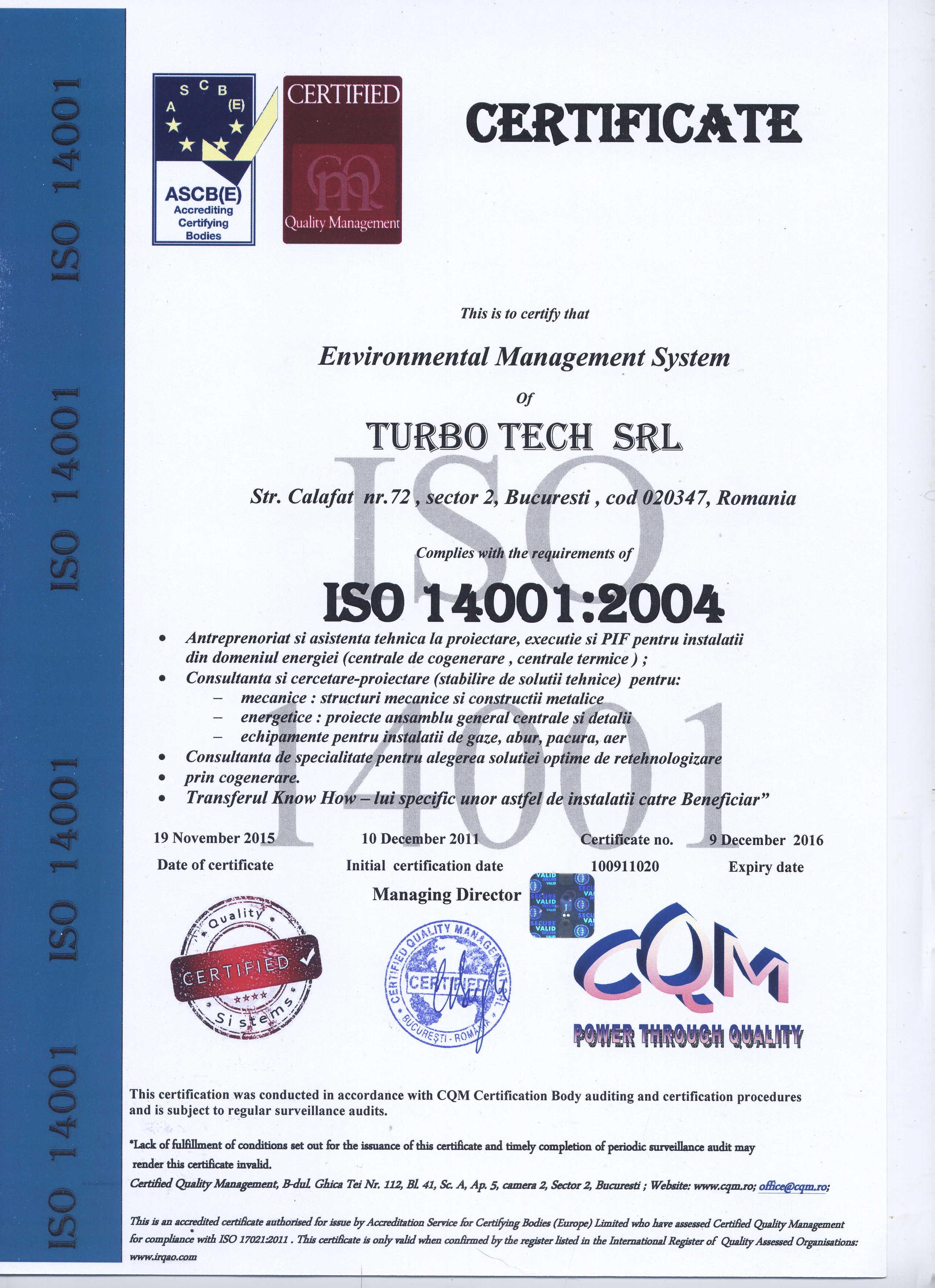 Accreditation Turbo Tech Ltd